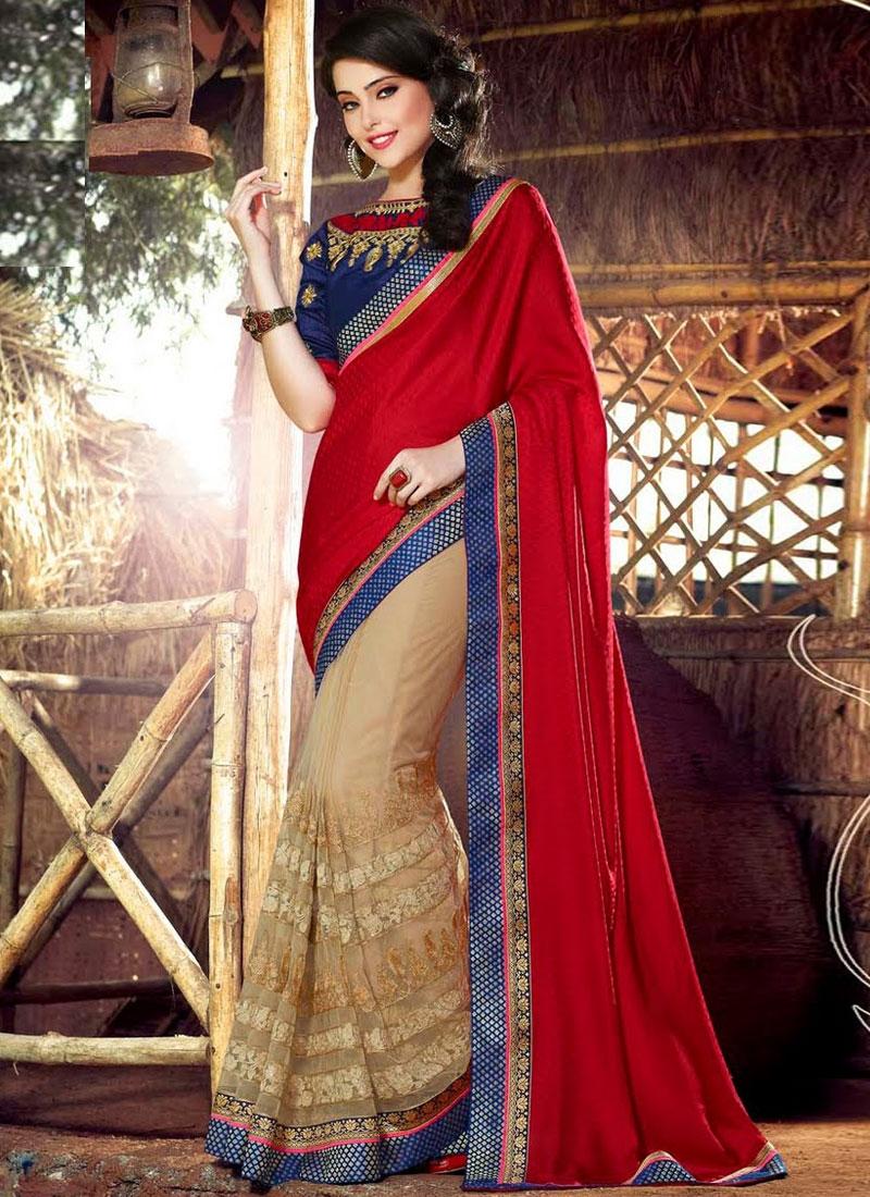 Dignified Red Color Half N Half Wedding Saree