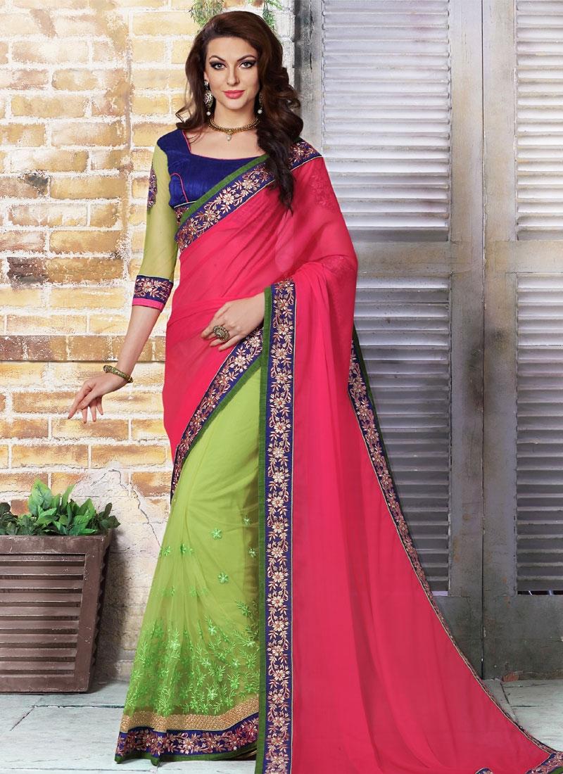Dignified Resham Work Net Half N Half Designer Saree
