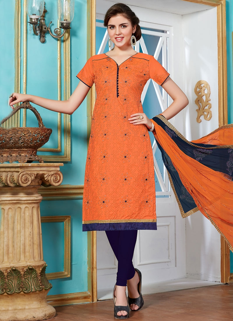 Dignified Stone And Lace Work Churidar Salwar Suit