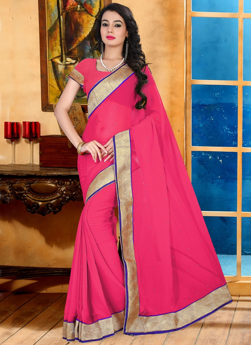 Dignified Stone And Resham Work Casual Saree