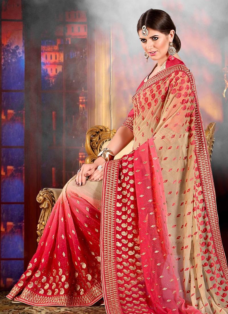 Dignified Stone Work Wedding Saree