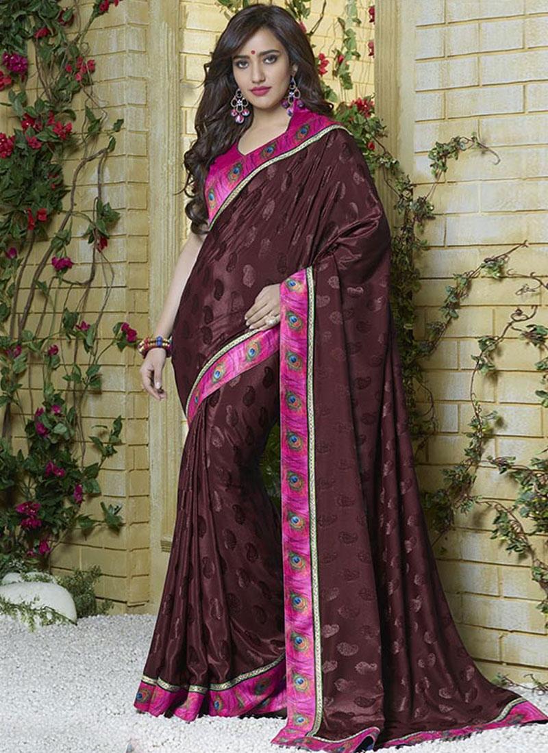 Dignified Wine Color Neha Sharma Casual Saree