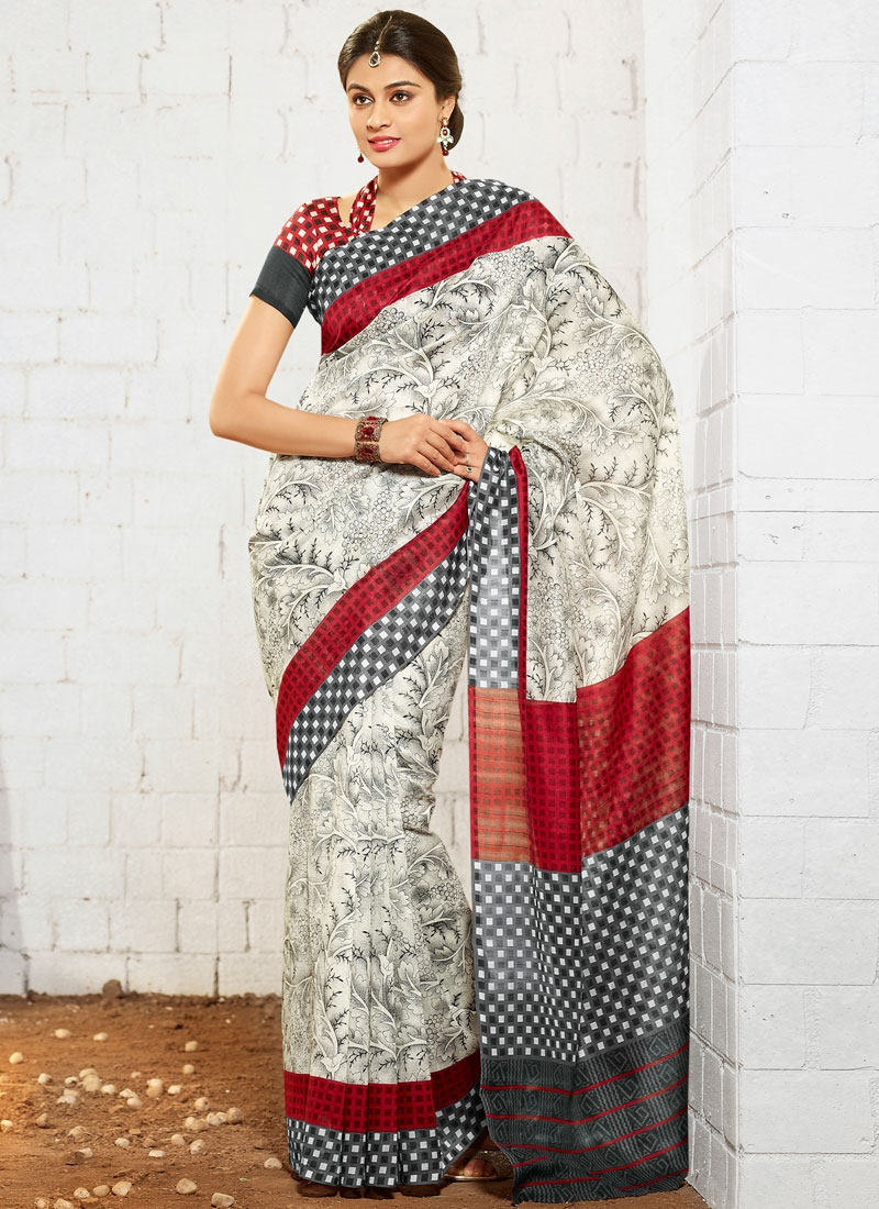 Dilettante Abstract Print Work Casual Saree