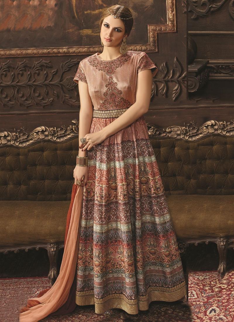 Dilettante Banarasi Silk Long Length Designer Salwar Kameez