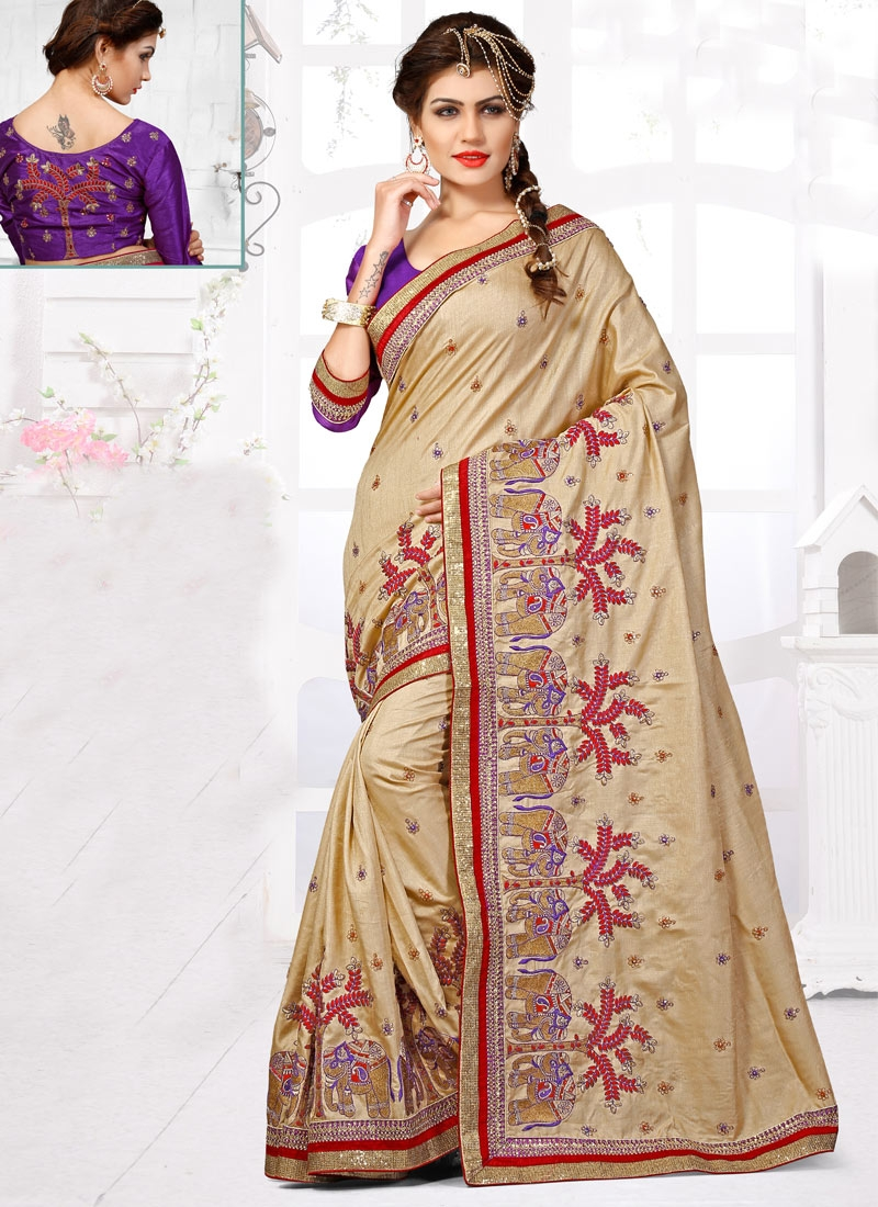 Dilettante Beige Color Embroidery Work Wedding Saree