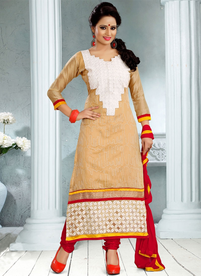 Dilettante Beige Color Resham Work Churidar Salwar Kameez