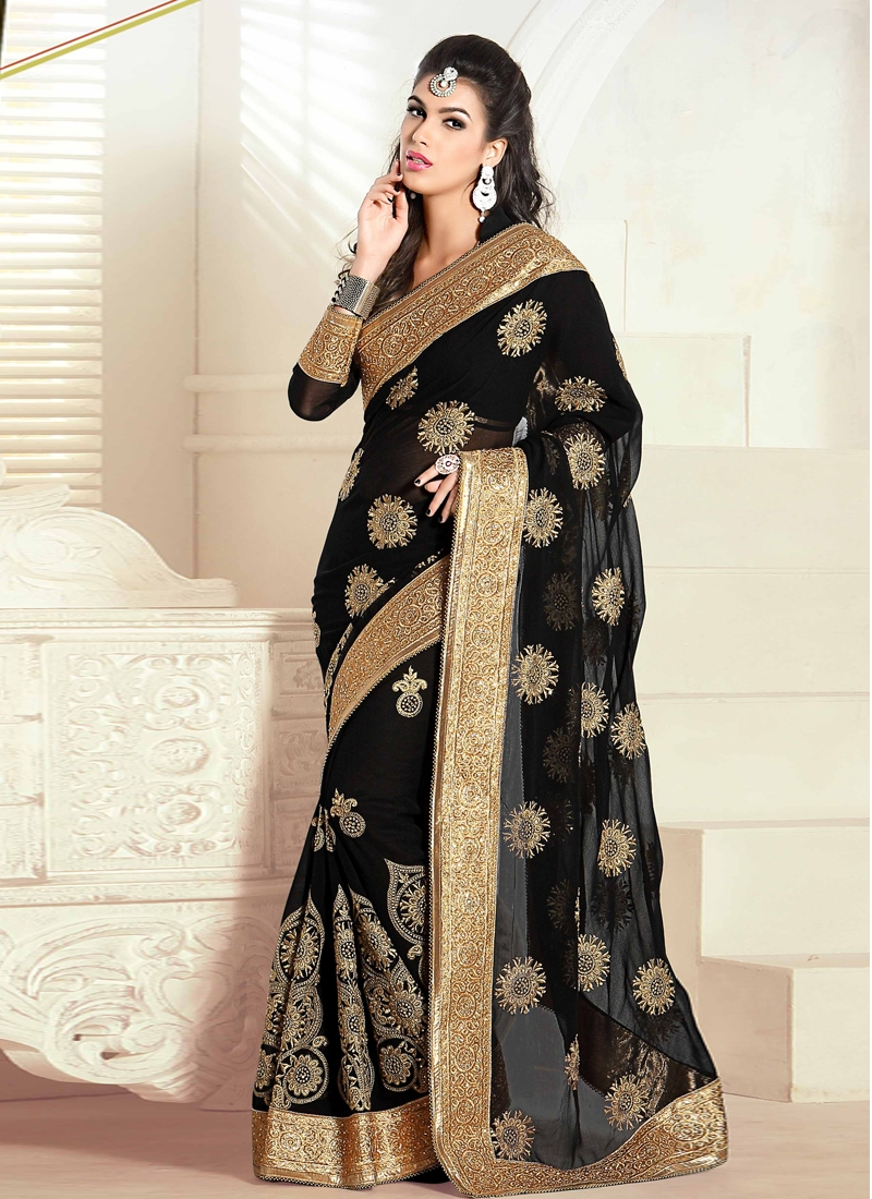 Dilettante Black Color Party Wear Saree