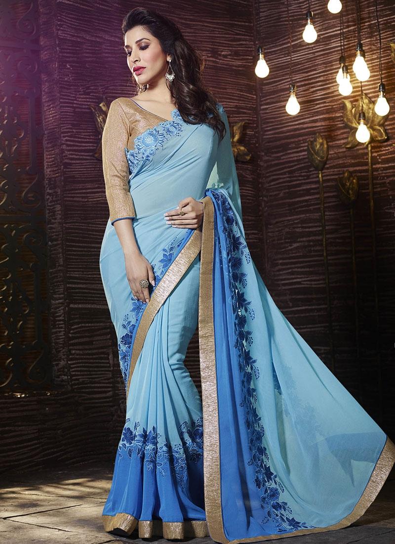 Dilettante Blue And Light Blue Color Designer Saree