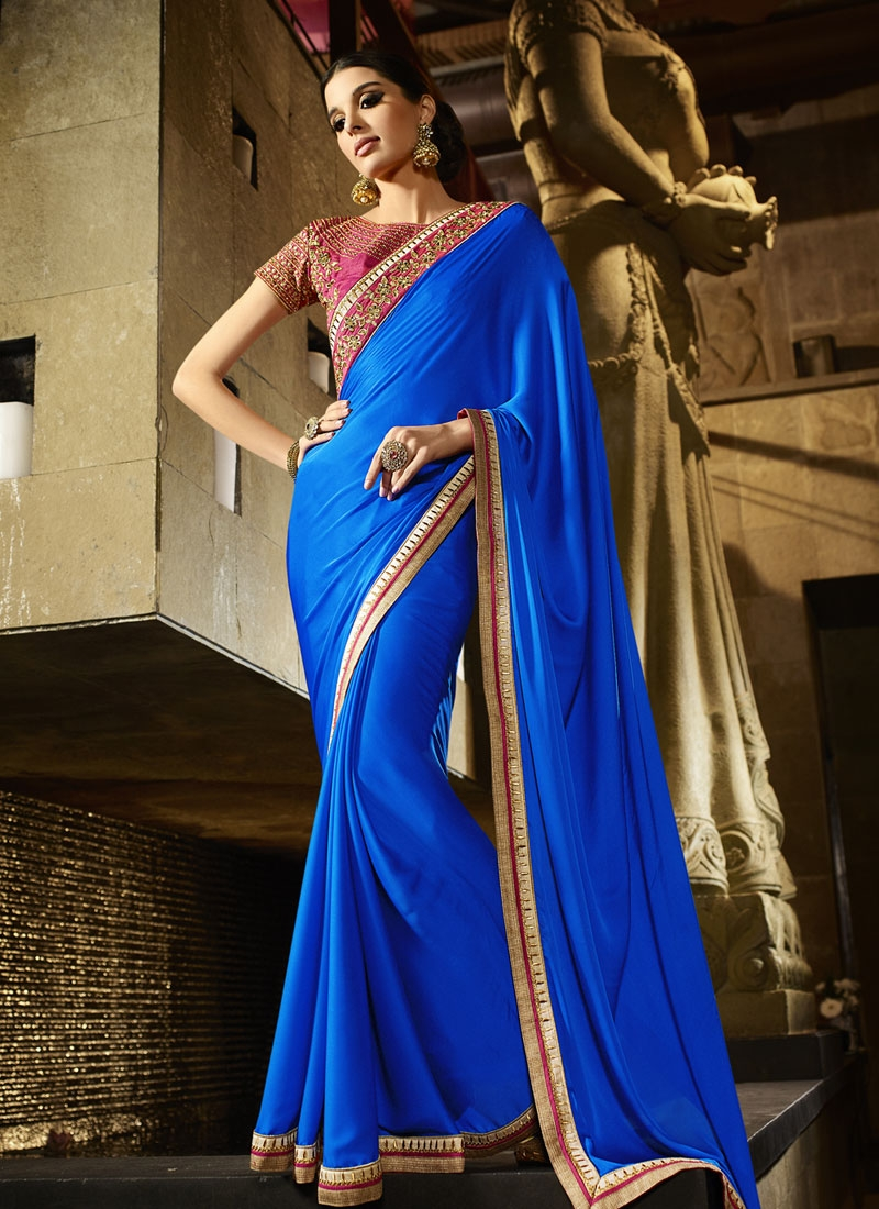 Dilettante Blue Color Satin Party Wear Saree
