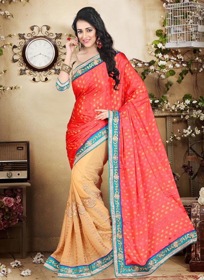 Dilettante Chiffon Satin And Faux Chiffon Half N Half Party Wear Saree