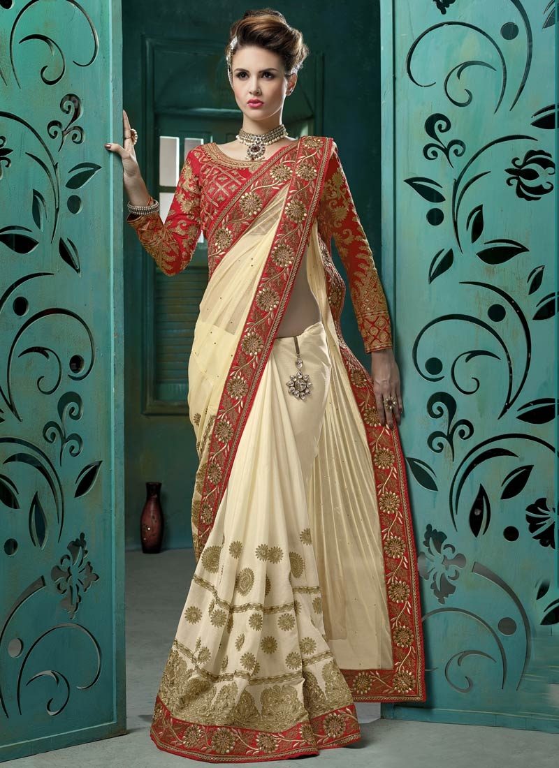 Dilettante Cream Color Lace Work Designer Saree
