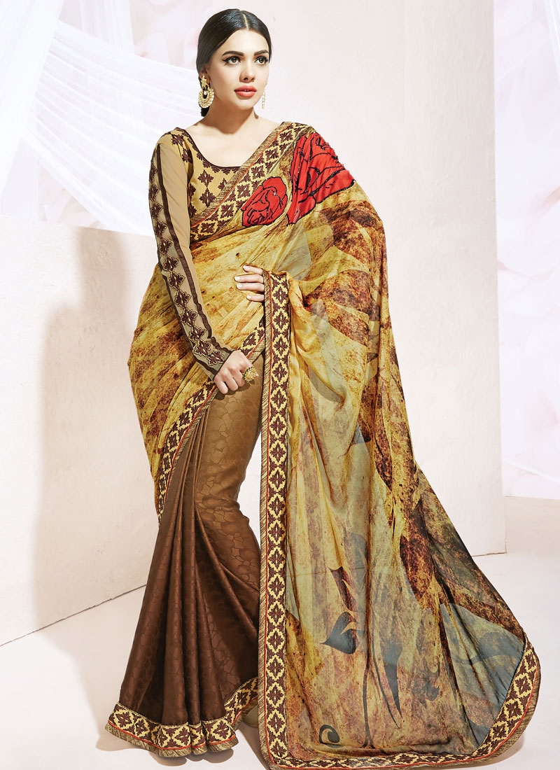 Dilettante Digital Print Work Half N Half Party Wear Saree