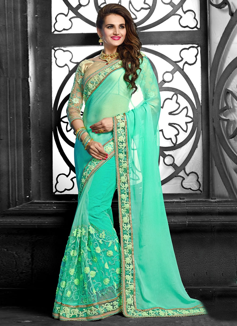 Dilettante Embroidery And Beads Work Net Wedding Saree