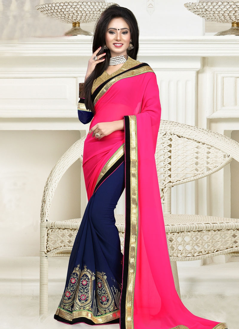 Dilettante Embroidery And Lace Work Half N Half Party Wear Saree