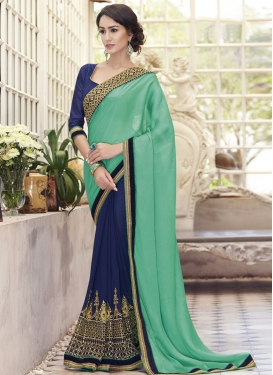 Dilettante Embroidery Work Half N Half Party Wear Saree
