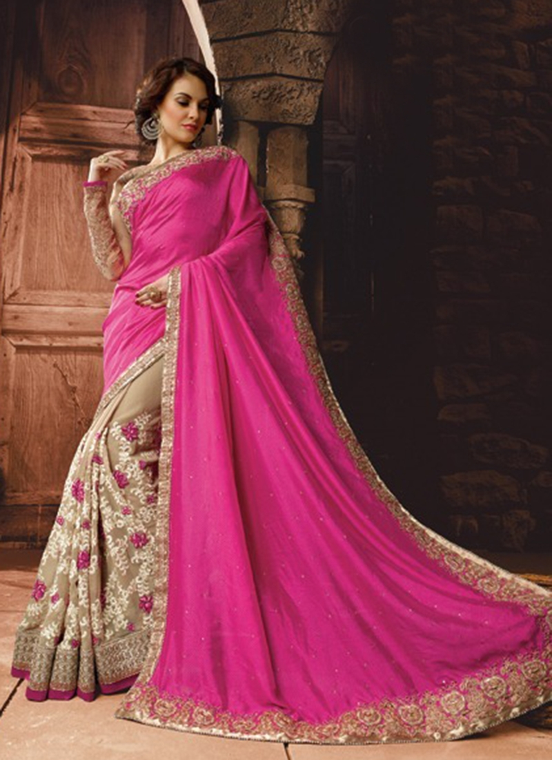 Dilettante Floral And Stone Work Half N Half Wedding Saree
