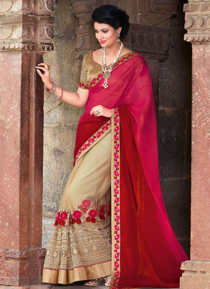 Dilettante Floral Work Net Half N Half Wedding Saree
