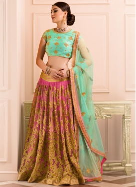 Dilettante Hot Pink and Turquoise Trendy Lehenga Choli For Ceremonial