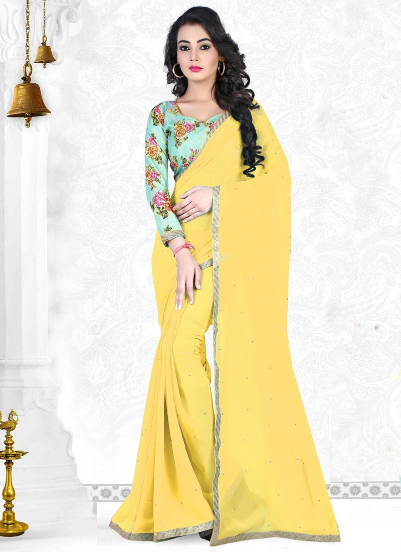 Dilettante Lace And Stone Work Faux Georgette Casual Saree