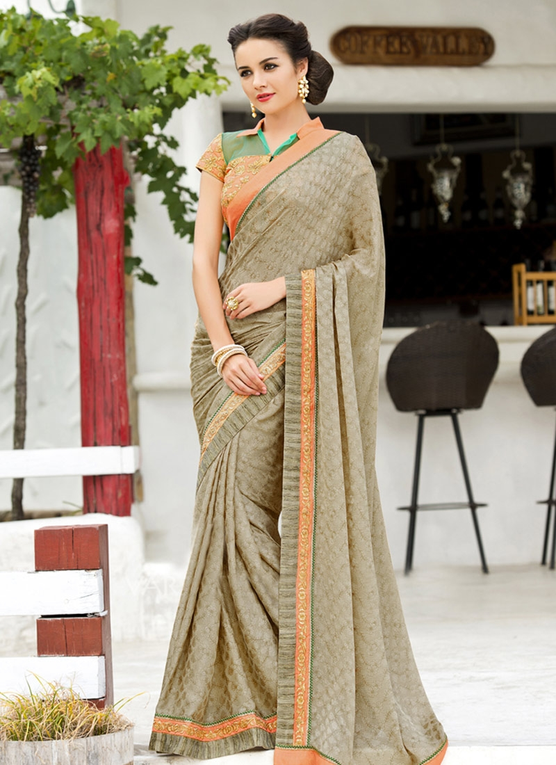 Dilettante Lace Work Beige Color Party Wear Saree