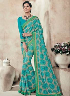 Dilettante Lace Work Printed Party Wear Saree