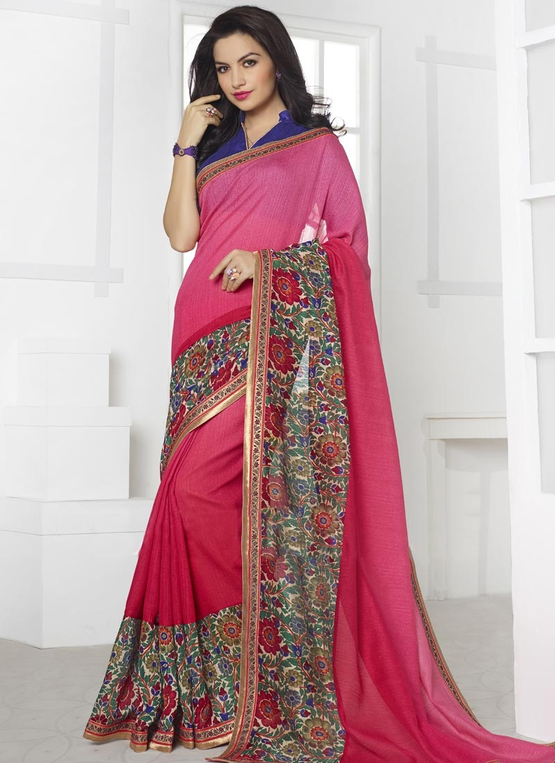 Dilettante Linen Digital Print Casual Saree
