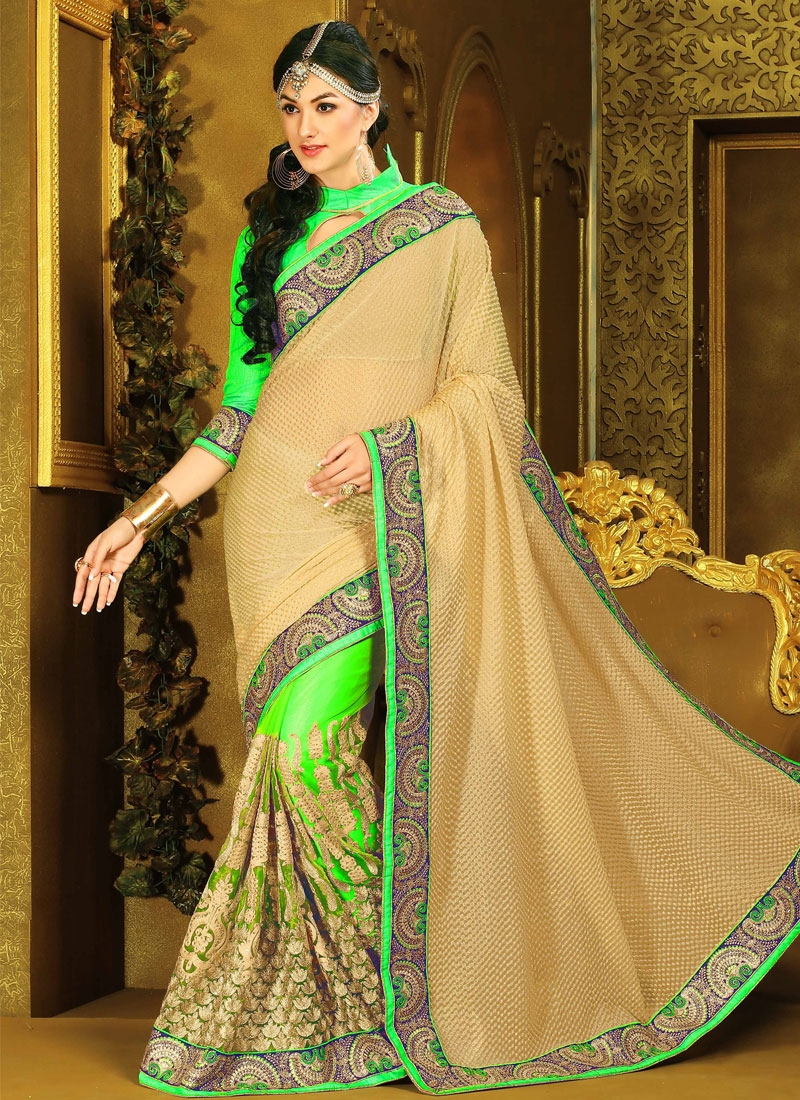 Dilettante Mint Green And Beige Color Half N Half Designer Saree