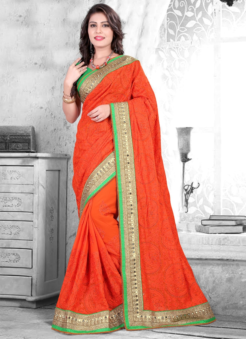 Dilettante Mirror And Resham Work Wedding Saree