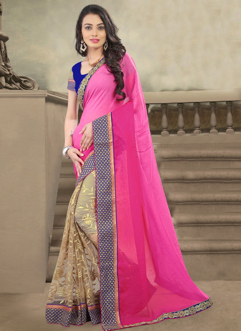 Dilettante Net And Jacquard Half N Half Designer Saree