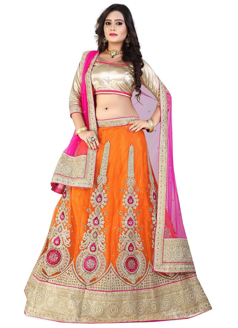 Dilettante Orange Color Booti Work Wedding Lehenga Choli