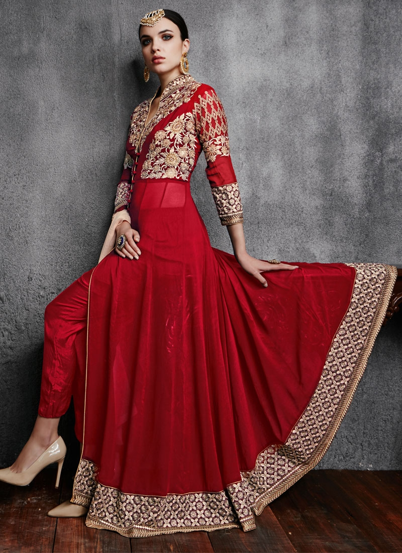 Dilettante Patch Border Work Red Color Pant Style Designer Suit
