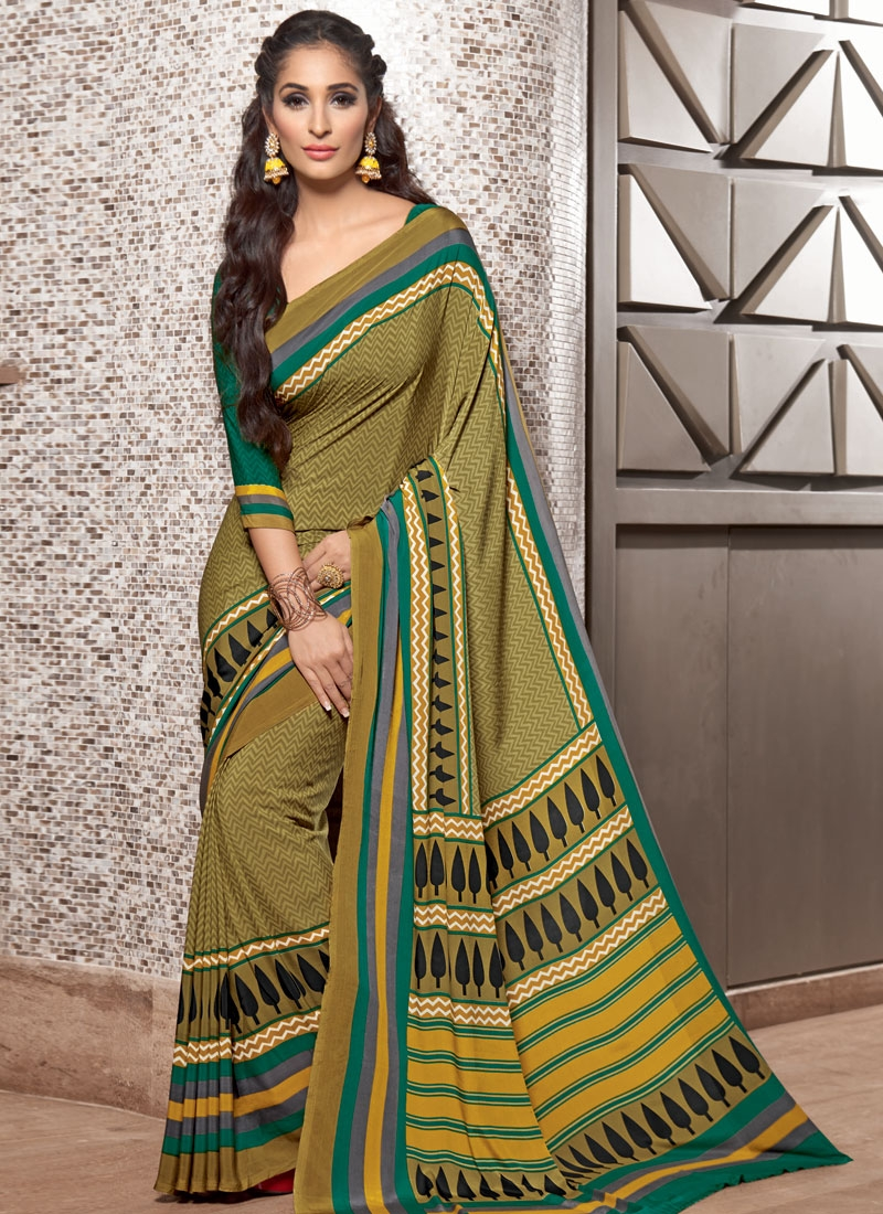 Dilettante Printed Crepe Silk Casual Saree