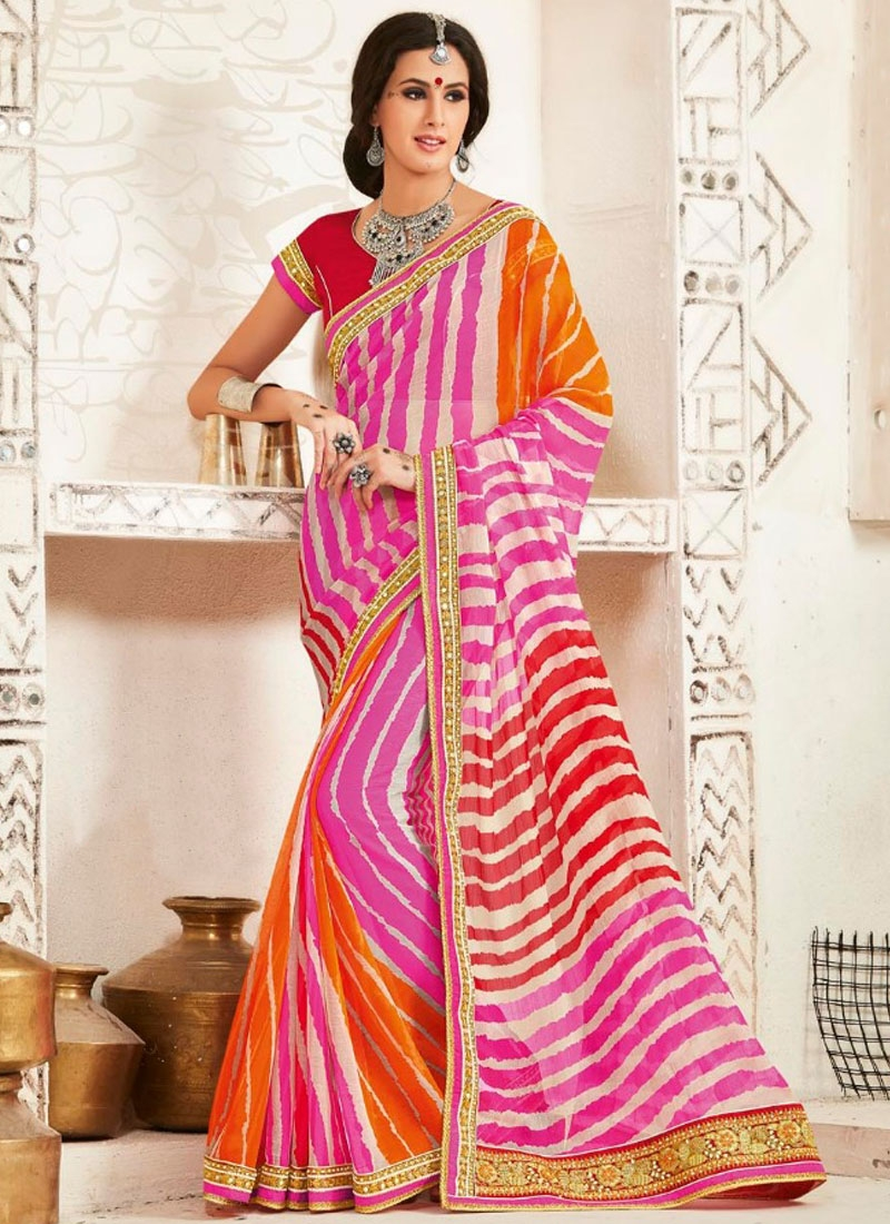 Dilettante Resham And Bandhej Print Work Party Wear Saree