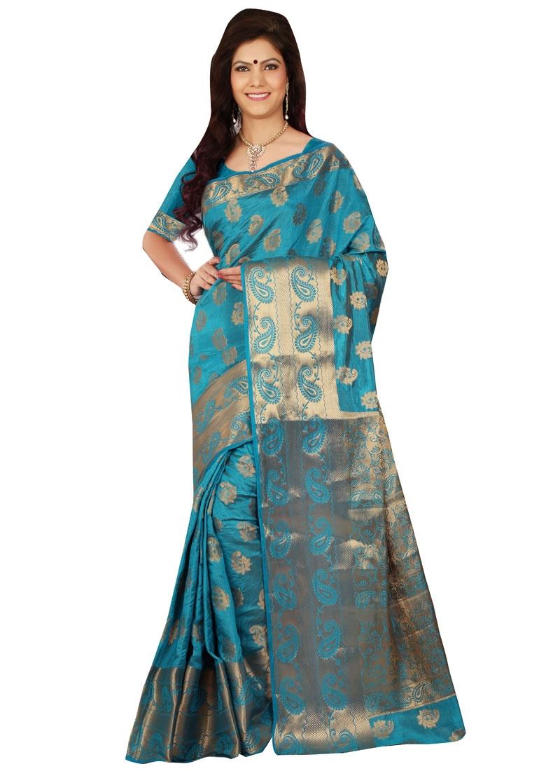 Dilettante Resham Work Art Silk Casual Saree