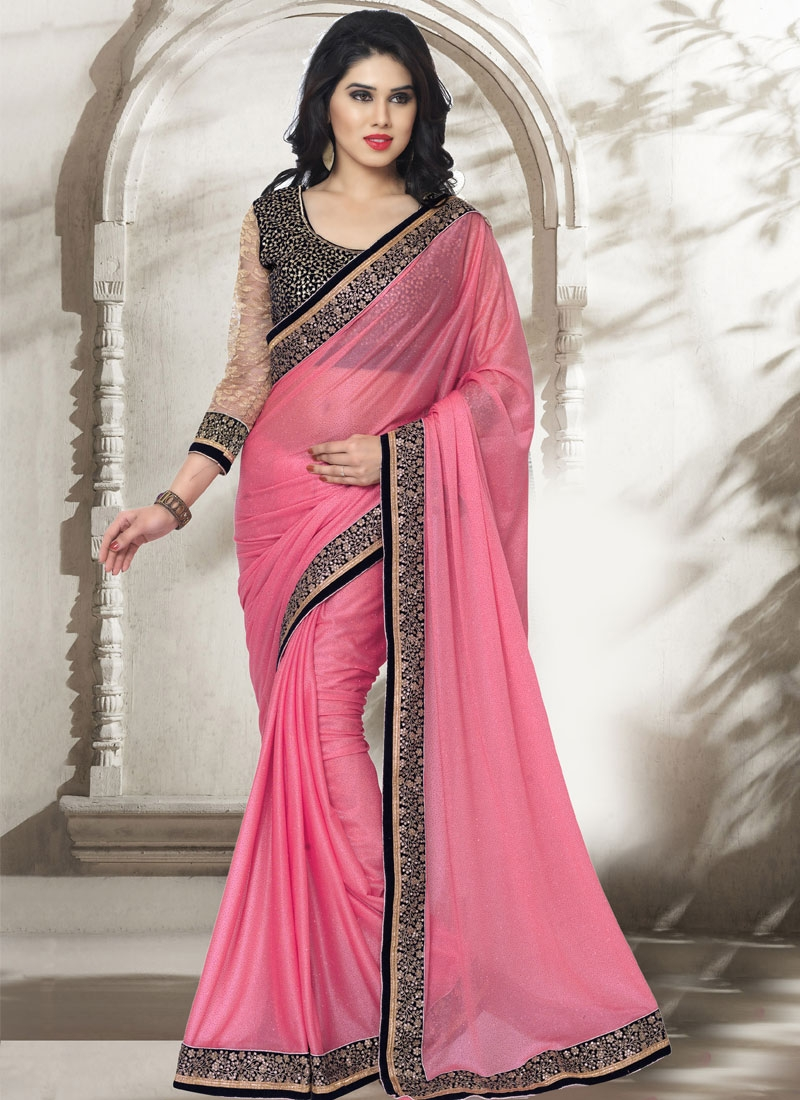Dilettante Resham Work Hot Pink Color Party Wear Saree