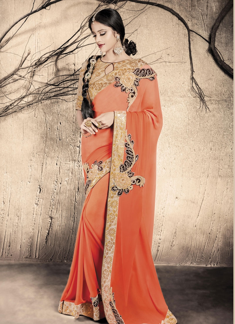 Dilettante Sequins Work Orange Color Party Wear Saree