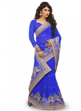 Dilettante Stone Work Blue Color Designer Saree