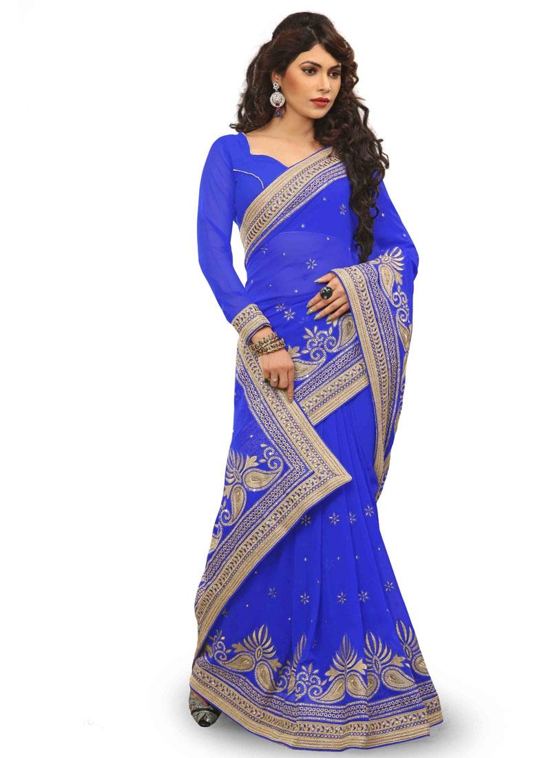 Dilettante Stone Work Blue Color Designer Saree