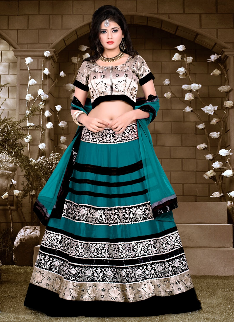 Dilettante Teal Color Sequins Work Designer Lehenga Choli