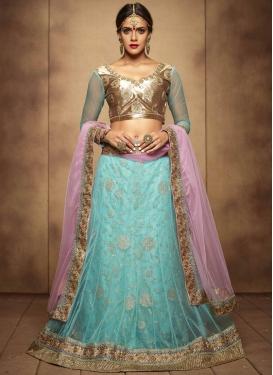 Dilettante Turquoise Color Net Designer Lehenga Choli