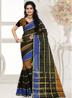 Distinctive Black Color Cotton Silk Casual Saree