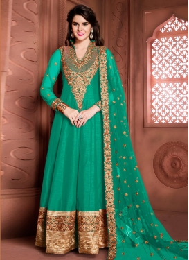 Distinctive Booti Work  Banglori Silk Long Length Designer Anarkali Suit