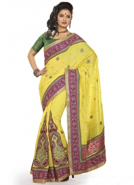 Distinctive Chanderi Silk Booti Work Designer Saree