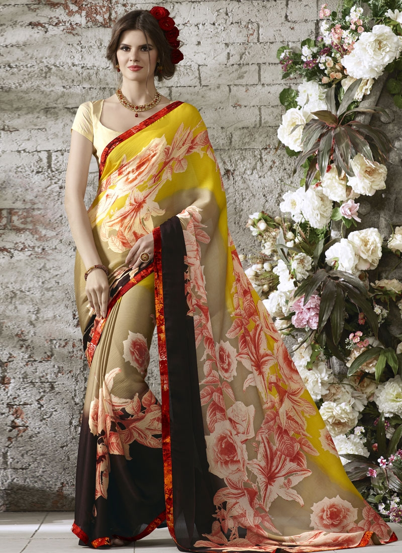 Distinctive Digital Print Work Chiffon Satin Casual Saree