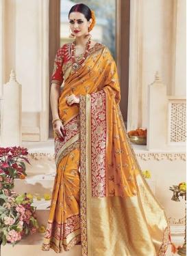 Distinctive Embroidered Work  Trendy Saree