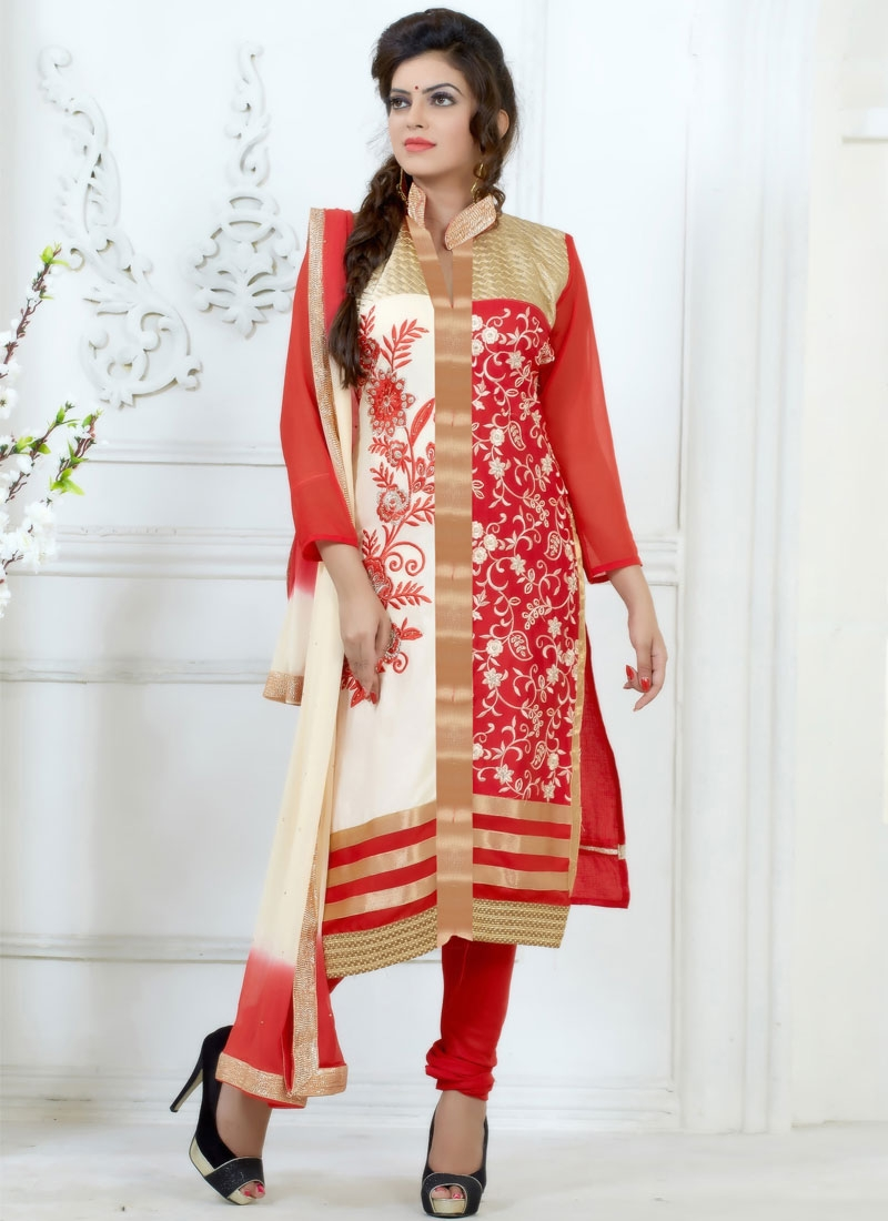 Distinctive Embroidery Work Churidar Suit