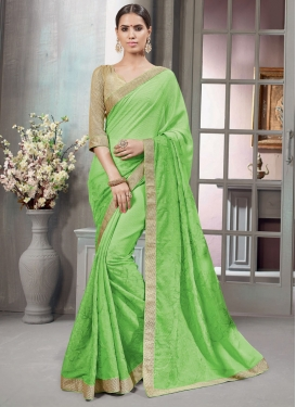 Distinctive Faux Chiffon Chicken Work Trendy Classic Saree For Festival