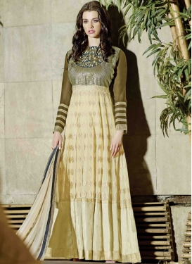 Distinctive Faux Georgette Long Length Wedding Suit