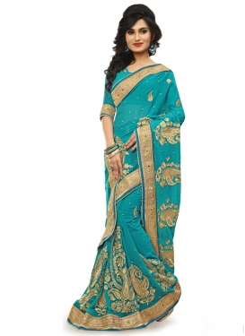 Distinctive Lace Work Aqua Blue Color Wedding Saree