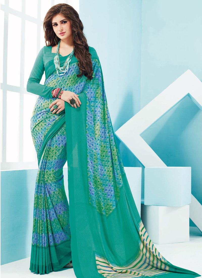 DistinctiveAqua Blue Color Casual Saree